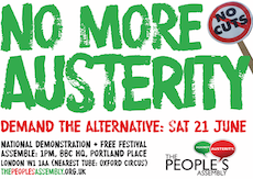 Event poster for 21 June Anti Austerity Demo