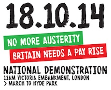 Event poster for 18 Oct Anti Austerity Demo